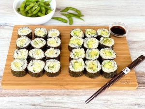 Vegetable Sushi- Avocado and Cucumber Rolls