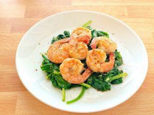 Garlic Shrimp Over Spinach